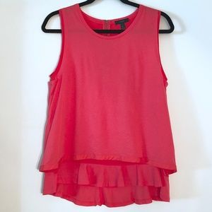 J. Crew | Double Hem Ruffle Tank Top Poppy MEDIUM